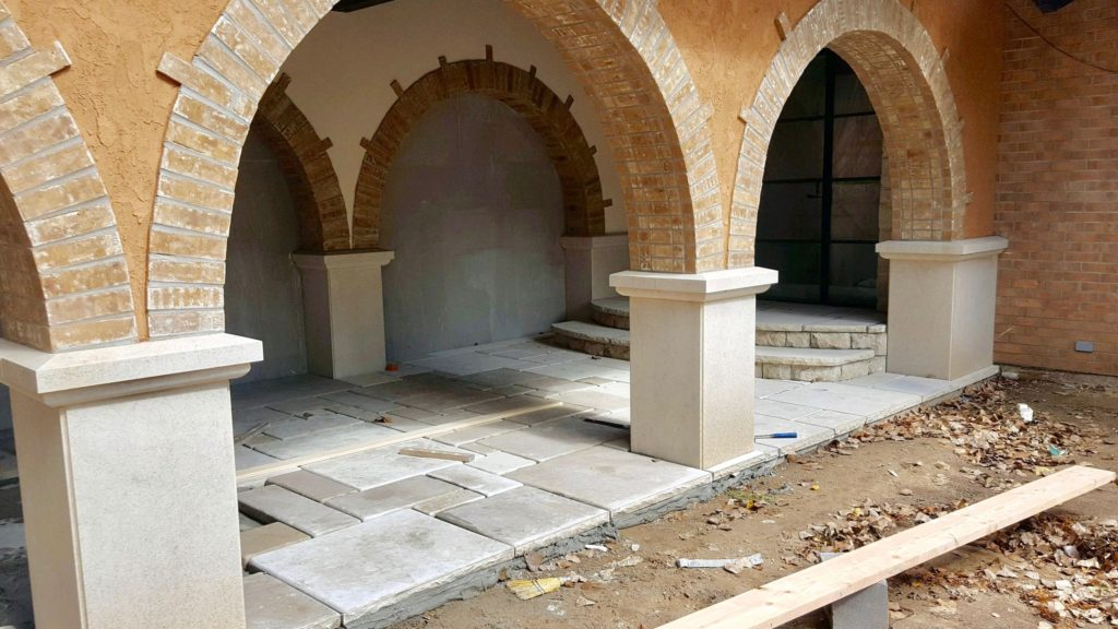 Cloister arches under construction.